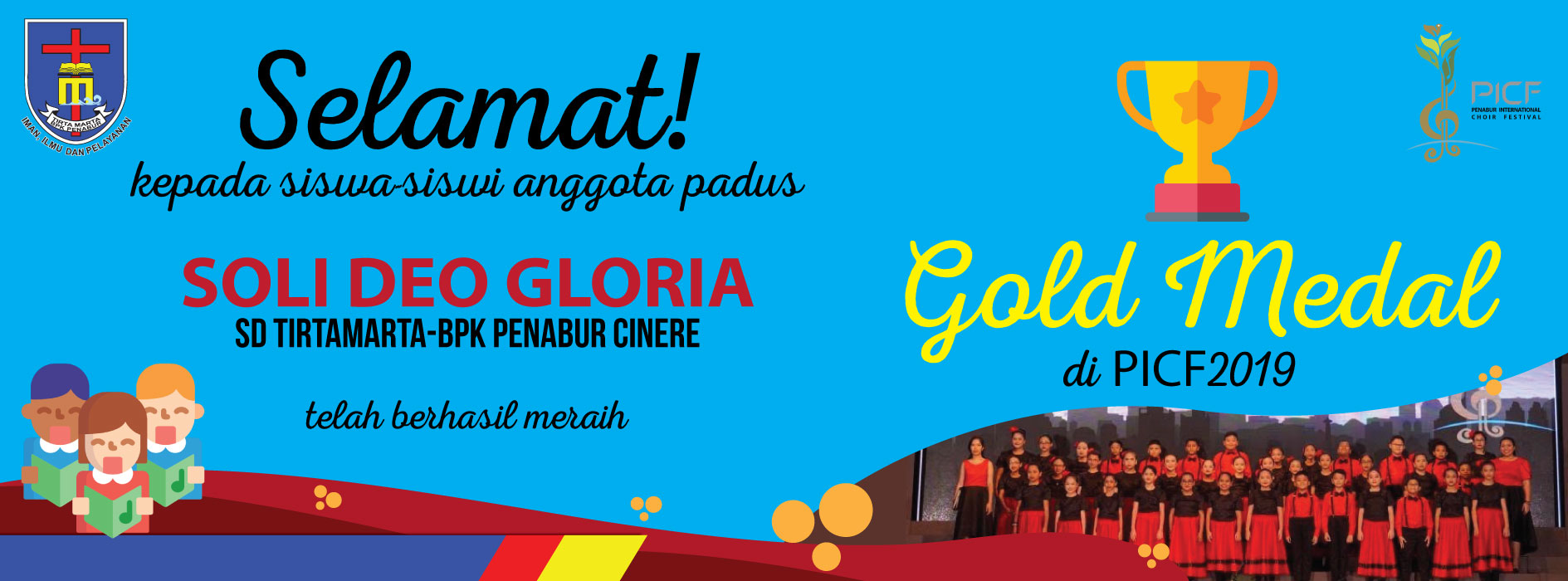 Paduan Suara Soli Deo Gloria SDK Tirtamarta BPK Penabur Cinere Gold Medal 2019 PICF