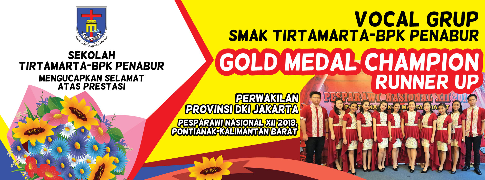 gold medal vocal grup smak tirtamarta bpk penabur jakarta pondok indah cinere pesparawi nasional xii 2018 pontianak kalimantan barat runner up